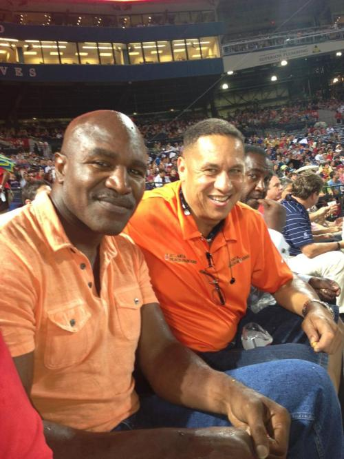 Orlando Lynch behind home plate at the Atlanta Braves game.